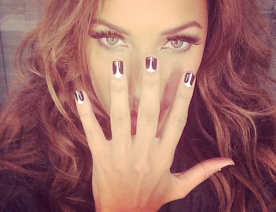 Celebrity black and white nails