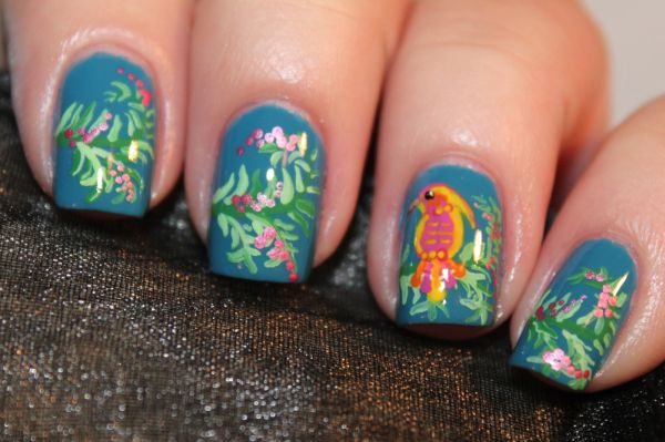 Tropical Bird And Flower Nail Art