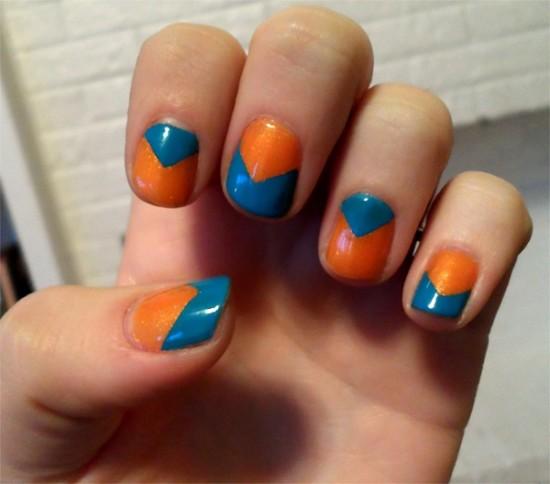 The Blue Orange Chevron Nails