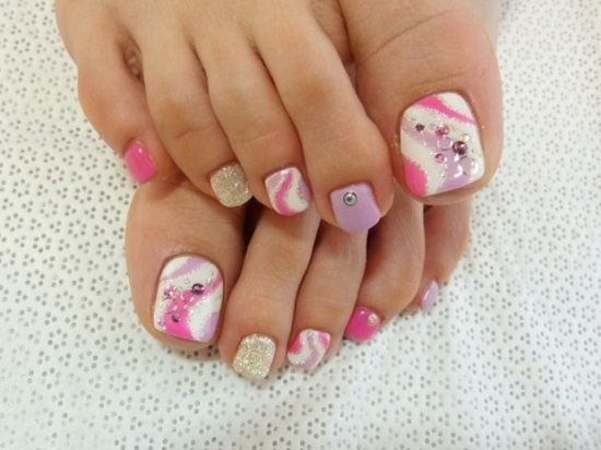 Pink Ringed Toe Nail Design