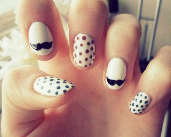 White Mustache Nails
