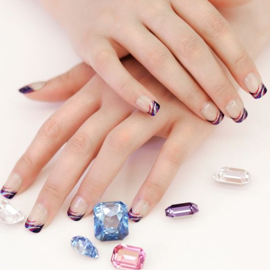 Bling Purple Nails With French Tips