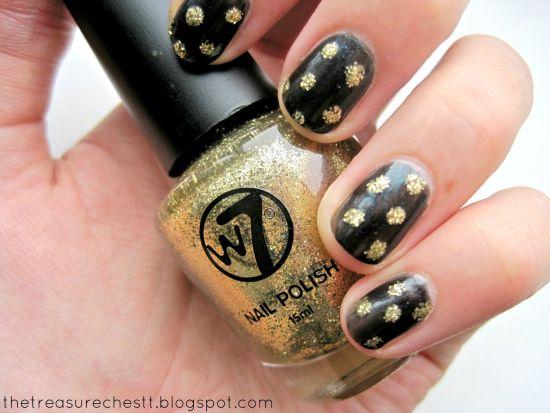 Golden Polka Dot Art On Black Nails