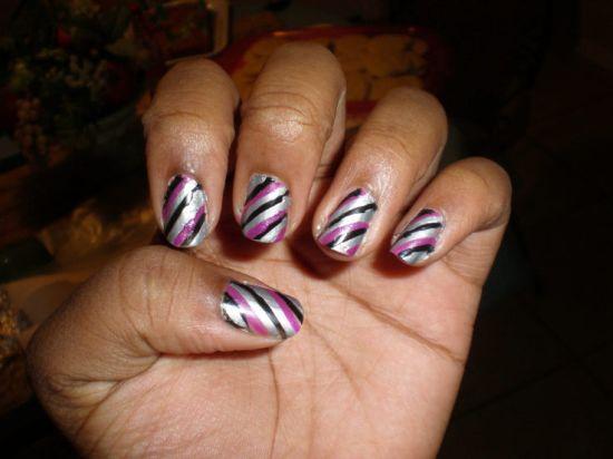 Purple Black And Silver Striped Nail Art