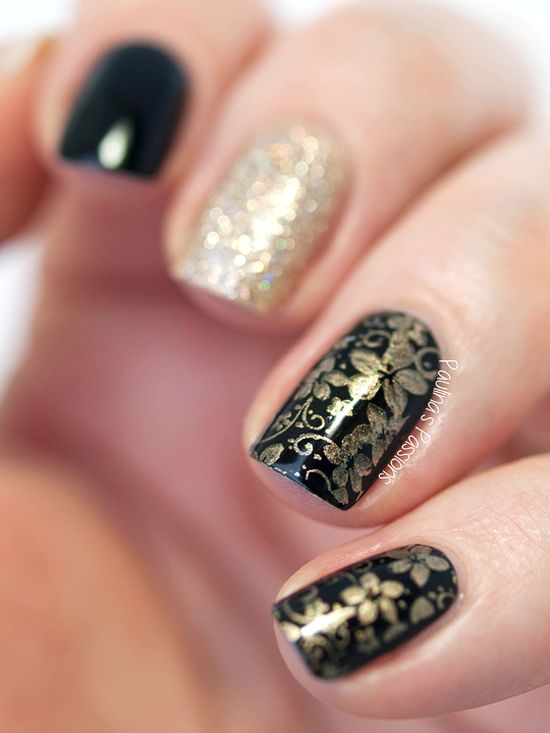 Stunning Golden And Black Nails With Sted Fl Designs
