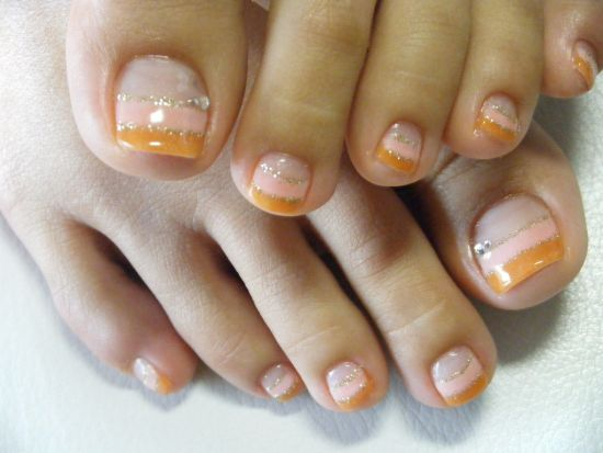 Double French Manicured Toe Nail Art