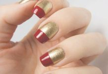 Capsule Like Red And Gold Nails