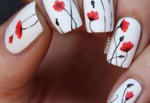 Gorgeous Poppies On White Polish