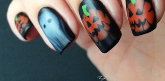 Pumpkins And Ghost On Matte Nails