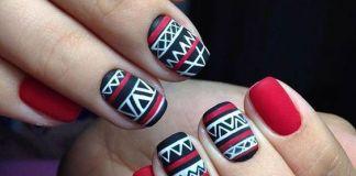 Red Aztec Print Nail Design