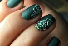 Sophisticated Embossed Lime Roses Over Evergreen Nails