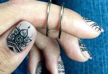 Traditional Mandala Pattern On Nude Nails