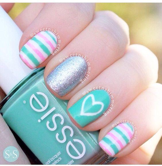30heart Pink Stripe Turquoise Nail Art