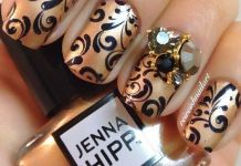 Jewels On Swirl Nails Design