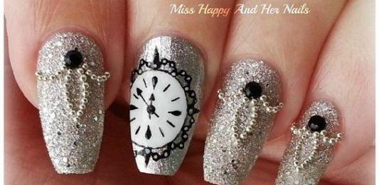 Glittered Clock Nail Art