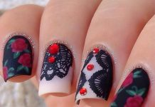 Gorgeous Studded Lace Nail Art