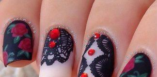 Gorgeous Studded Lace Nail Art