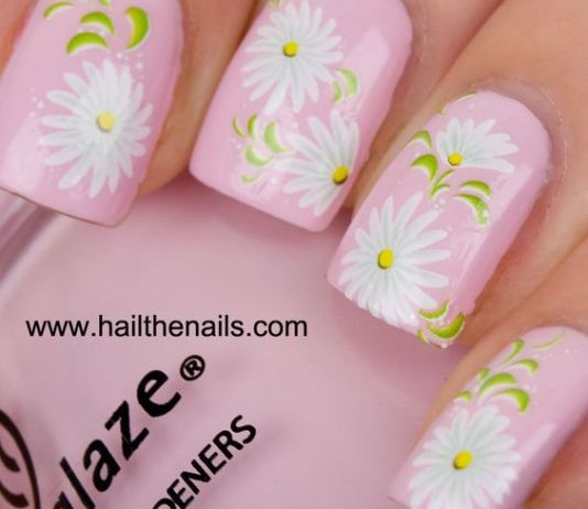 Stunning White Daisies On Pink Nails