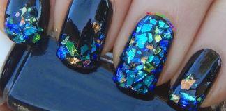 Blue Theme Shattered Glass Nail Art