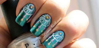 Boho Peacock Teal Nail Designs