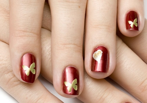 31gold Erfly Nail Design