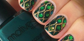 Intricate Rhinestone Patterned Green Nails