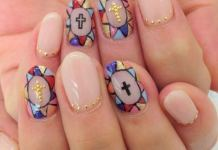 Lovely Gold Cross On Mosaic Nail Art