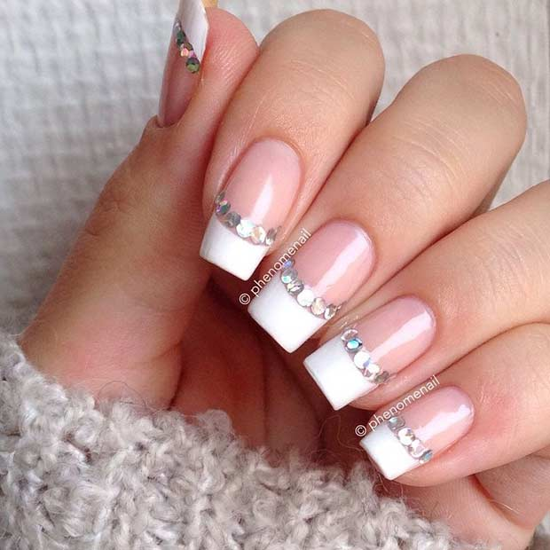30french Tip With Rhinestones Nail Art