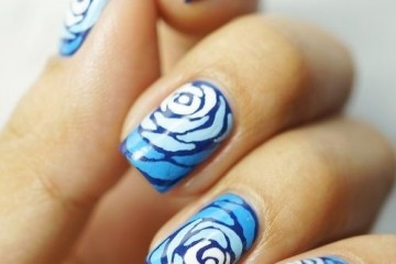 Blue Roses Freehand Nail Design