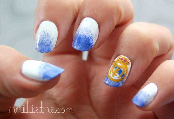 Uñas Con Escudo Del Real Madrid Reto Deporte Nailistas