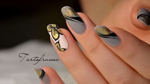 Antique Fl Nail Art With Gel Paint And Gold Foil Inspired By French Artist