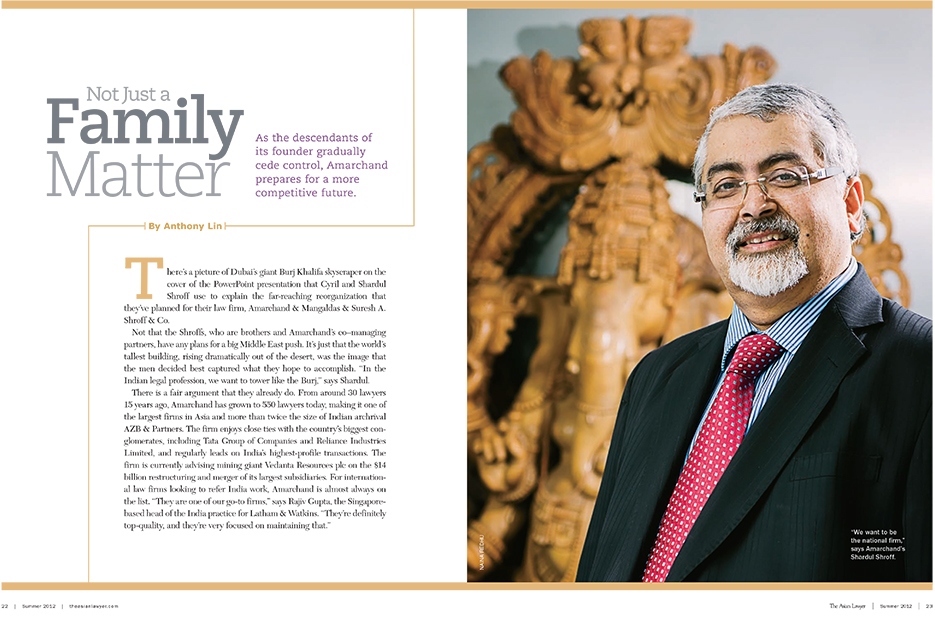 Asian Lawyer, Summer 2012, India Feature : Amarchand Mangaldas : Shardul Shroff. Corporate Portraiture Photography by professional Indian lifestyle photographer Naina Redhu of Naina.co