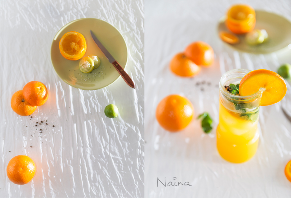 Cold drink : Orange and lemon beverage. Food photography. Photography by professional Indian lifestyle photographer Naina Redhu of Naina.co