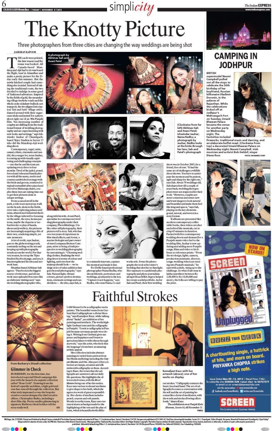 The Knotty Picture by Jaskiran Kapoor. Indian Express Chandigarh Newsline : Indian wedding photographer Naina Redhu