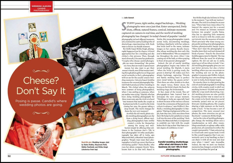 Outlook India Magazine : Candid Wedding Albums, December 10th 2012 : Indian wedding photographer Naina Redhu