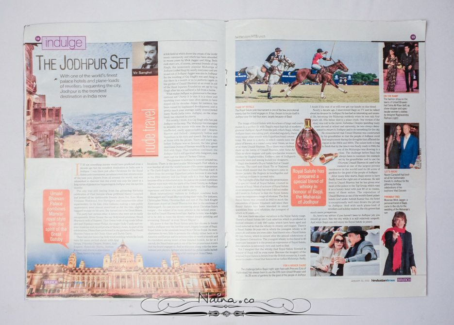 Hindustan Times Brunch Indulge Magazine Newspaper Jodhpur Royal Salute Photographer Naina.co Story Double Spread