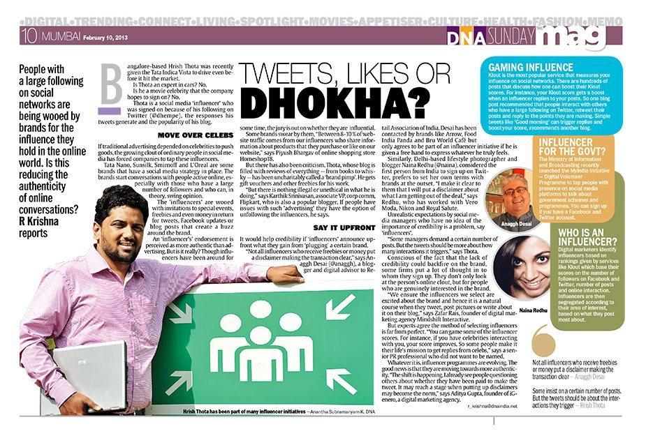 Tweets Likes Dhokha DNA Krishna Rao Naina.co Lifestyle Photographer Blogger Influencer Magazine Press