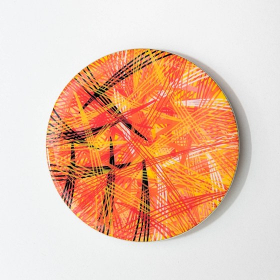 fire print, fire, yellow, orange, fine lines, line art, lines, saffron, khaosphilos, crimson, hand painted, wearable art, display art, original art, contemporary art, contemporary artist, naina redhu, naina.co, 2.5 inches diameter, 2.5 inch, circular canvas, acrylics on wood, wooden brooch, brooch, art brooch, wearable art brooch, wearable art jewellery, canvas display, magnet clasp, acrylic painting, khaos philos, chaos lover