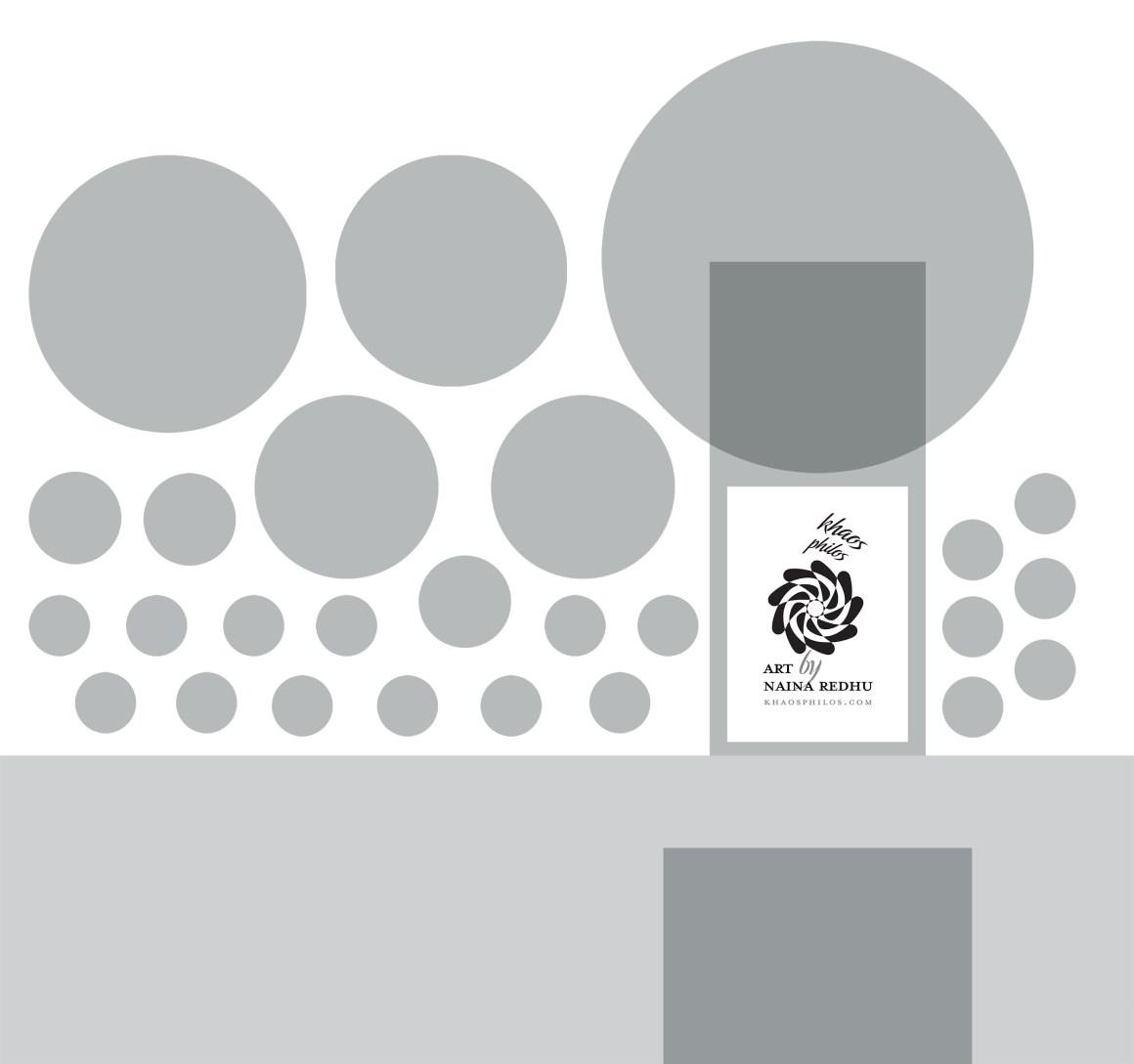khaosphilos, khaos philos, naina redhu, naina.co, contemporary art, contemporary artist, abstract art, abstract artist, acrylic paint, acrylics on canvas, wearable art, art exhibit, art pop-up, art wall, windmill design festival, aya nagar, windmill interiors, windmill furniture, canvases, hand painted, setting up an exhibition, hanging art on walls, marketing material, poster, branding, transporting a large canvas, transporting a large round canvas,
