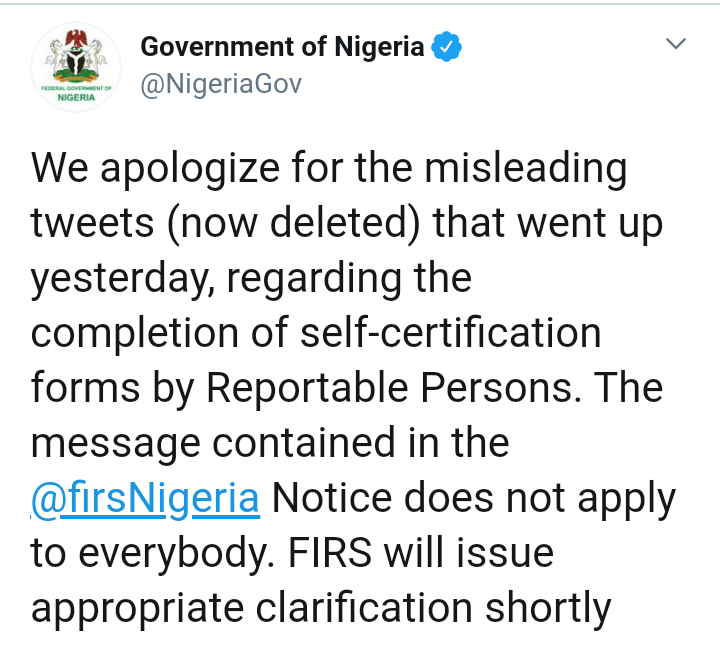 Apology Tweet from the federal government