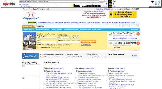 99acres.com in 2009