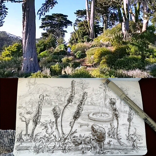 hola from San Francisco! The tourist hotspots have been fun, but there are equally as many inspiring locations like this gem in Golden Gate Bridge Park. I was totally in the zone sketching on this sunny, breezy hilltop.The ages of music and art dedicated to SF are no wonder.... #SanFrancisco #bayarea #art #drawing #illustration #sketch - Instagram feed