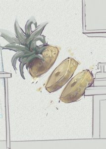 Pineapple Mural: Boogie Board Sketches