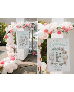 Illustration: travel-themed wedding entrance sign