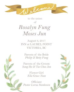 Illustrations and Print Design: Ceremony Program for travel-themed wedding