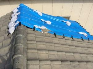 台風で屋根瓦が吹き飛ばされました。
