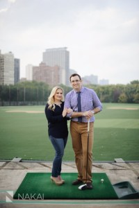 Chicago Engagement Photography   Golfing   Skyline  Lindsey   Jordan     golf engagement photo chicago