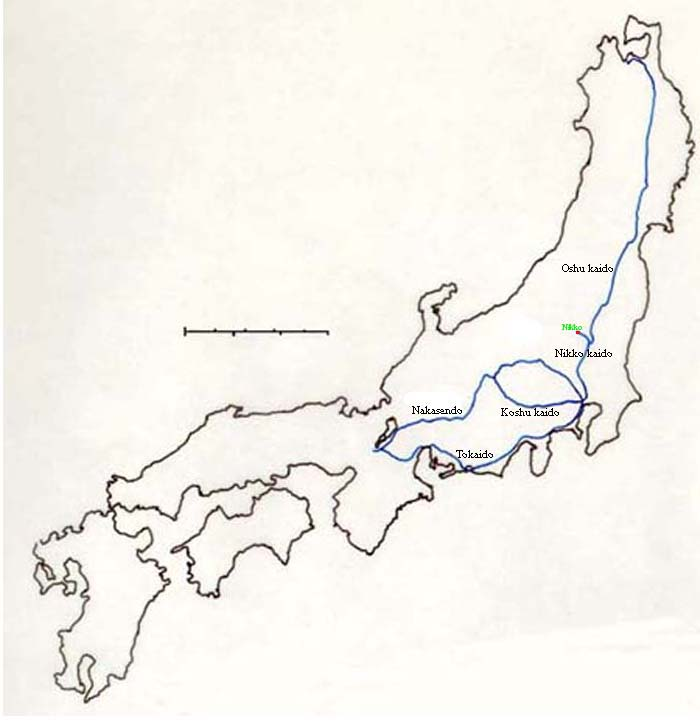 Map of central Japan showing the Nakasendo and the Tokaido highways.