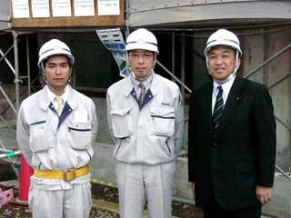 左から福井係長、久保田課長、中山社長