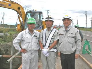 左から ㈱五晃建設 中本さん、高木所長、中山社長